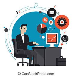 Flat design style modern vector illustration concept of smiling business man in formal suit sitting at the desk and working on computer in the office. Isolated on stylish colored background