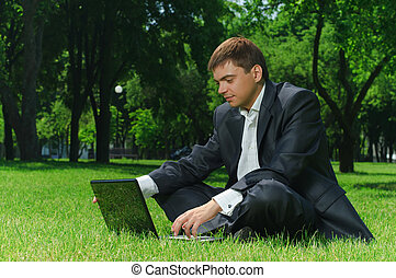 Businessman in the park