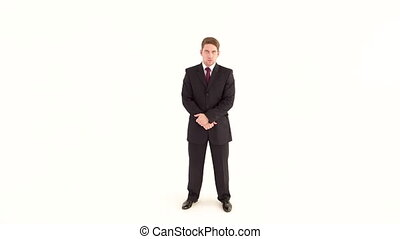 Businessman in the Suit Stands on a