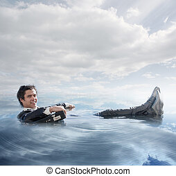 Businessman in the water