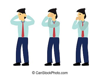 Businessman in three expression of see no evil, speak no evil and hear no evil. Concept of wisdom or ignorance