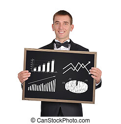 blackboard with chart of profits