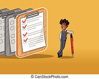 Businessman in vest cartoon character design leaning a pen with completed checklists on paper, against yellow background.