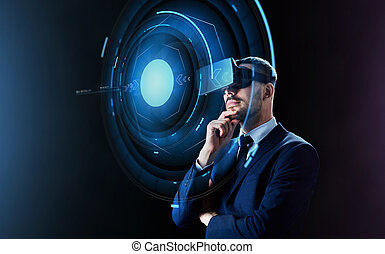 businessman in virtual reality headset - business, people,...