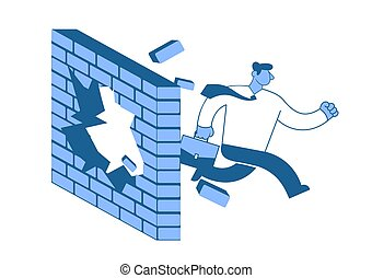 Businessman in white shirt breaks down the wall as he runs to his goals. Achieving goals. Race for success. Concept flat vector illustration, isolated on white background.