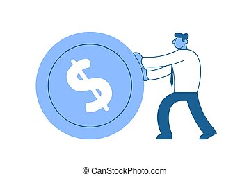 Businessman in white shirt pushing big dollar coin forward. Goals. Race for success. Sisyphean business. Concept flat vector illustration, isolated on white background. v