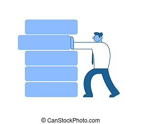 Businessman in white shirt pushing wrong block out of the stockpile. Benchmarking. Anticrisis management. Urgent measure. Concept flat vector illustration, isolated on white background.
