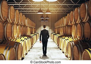 Businessman in winery