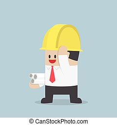 Businessman in yellow safety helmet with sheet rolls, Architect, Engineer concept