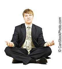 businessman  in yoga  pose