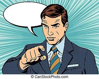 Businessman index retro poster pop art retro vector. A man...