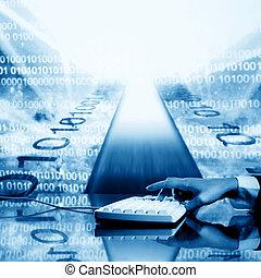 input data - businessman input data information on keyboard