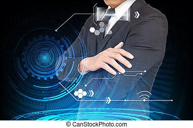 Businessman interface against blue