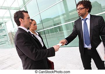 Businessman introducing himself