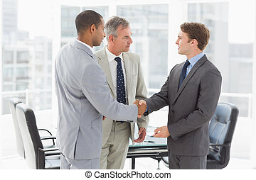 Businessman introducing new colleagues
