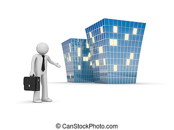 Businessman invites to new office building - 3d isolated...
