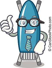 Businessman iron board character cartoon vector illustration