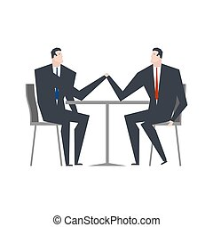 Businessman is an arm wrestling. Business competitors. Office life