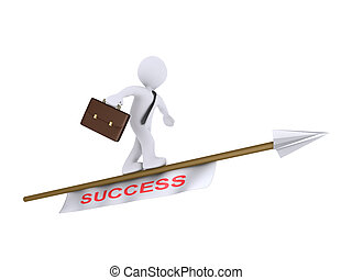 Businessman is balancing on a flying arrow