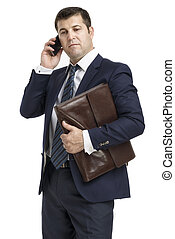 businessman is calling isolated on white background