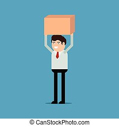 Businessman is carrying a box, vector illustration on a blue background