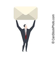 Businessman is carrying letter. Boss and large envelope. Office life vector illustration.