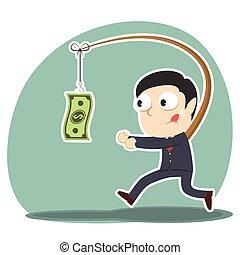 Businessman is chasing money