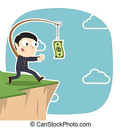 Businessman is chasing money on cliff