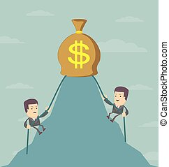 Businessman is climbing to get the money