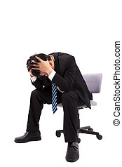 Businessman is depressed  with holding his head