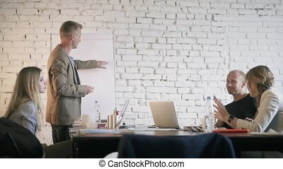 Businessman is drawing a graph and discussing it with his...