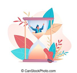 Businessman is drowning in the sand of an hourglass. Metaphor of time management. The concept of multitasking, performance, deadline. Vector flat illustration.