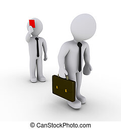 Businessman is fired with red card - 3d businessman is...