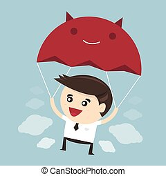 Businessman is flying with parachute, flat design, vector