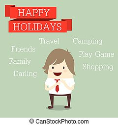 businessman is happy at the holiday relax time with friends, fam
