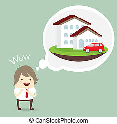businessman is happy, dream luxury house and car, business concept