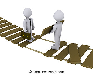 Businessman is helping another to cross a damaged bridge -...