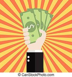 Businessman is holding money