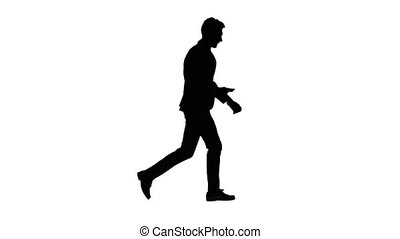 Businessman is in a hurry to work, he starts to run. White...