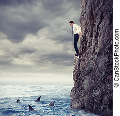 Businessman is likely to fall into the sea with shark. Risks and difficulties concept