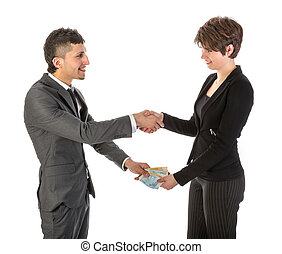 Businessman is paying businesswoman