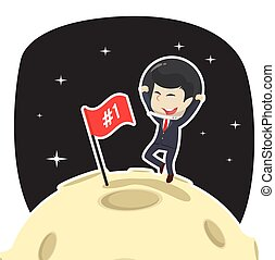 Businessman is putting flag on moon