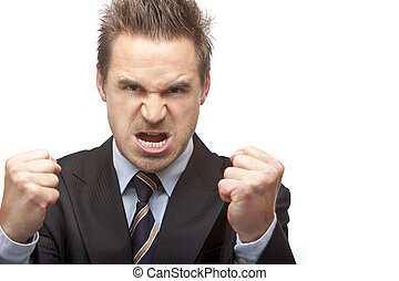 Businessman is quite angry and shows fists