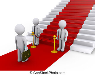 Businessman is refused access to stairs with red carpet by...