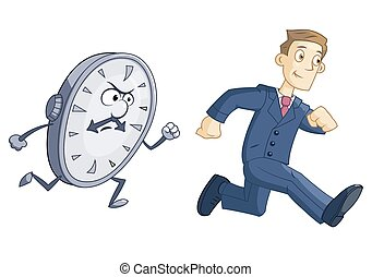 Businessman is running against time