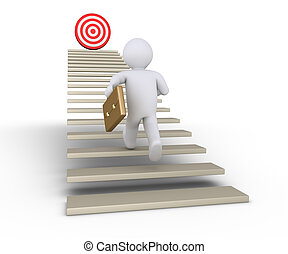 Businessman is running towards target