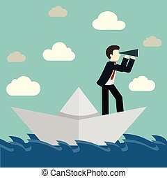 Businessman is sailing on paper boat in ocean