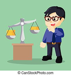 businessman is scale coin