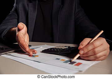 Businessman is showing profit in a chart. Investment concept