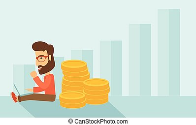 Businessman is sitting with pile of gold coins on his back.